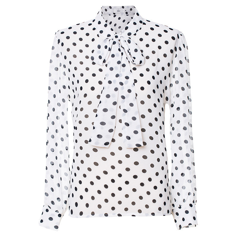 Six Senses 2019 spring summer women blouses plus size fashion casual bow polka dot chiffon women shirts tops HM011 harajuku in Blouses amp Shirts from Women 39 s Clothing