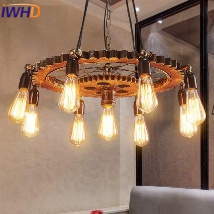 IWHD loft Vintage Industrial Lighting 9 Heads Iron Pendant Lights Metal Gear Shape Lampen Angle Adjusable Retro Lamp