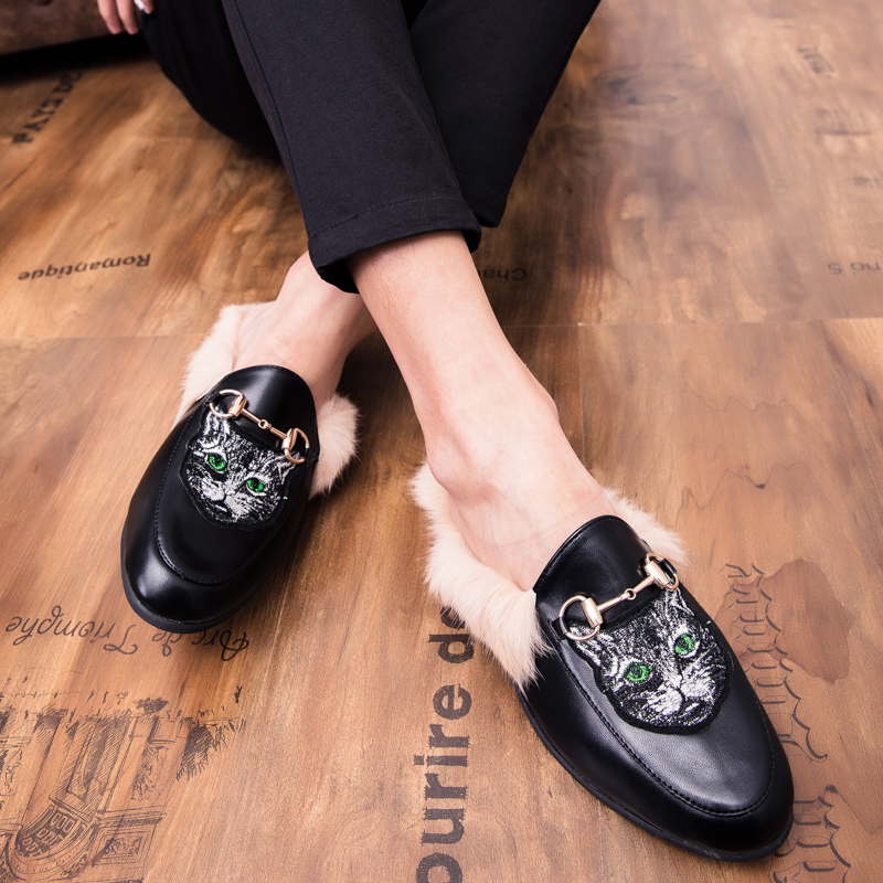 New Woman Fur Slides Slip On Loafers shoes unisex Mules Warm Plush Home Slippers Women Shoes Indoor Flip Flops Zapatos De Mujer