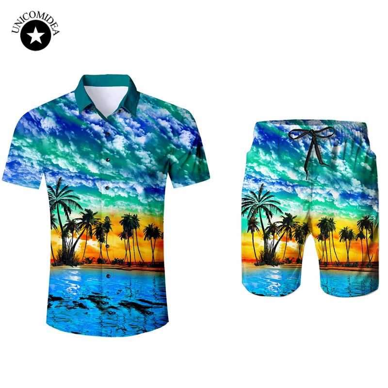 11b01f3c Men's Short Sleeve Hawaiian Shirt And Shorts Summer Plam Tree Casual Beach Hawaii  Shirts Shorts Pants