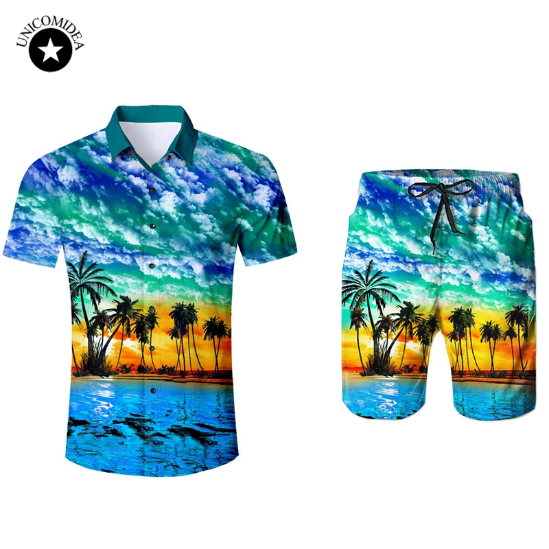 Men's Short Sleeve Hawaiian Shirt And Shorts Summer Plam Tree Casual Beach Hawaii Shirts Shorts Pants Two Piece Suit Men
