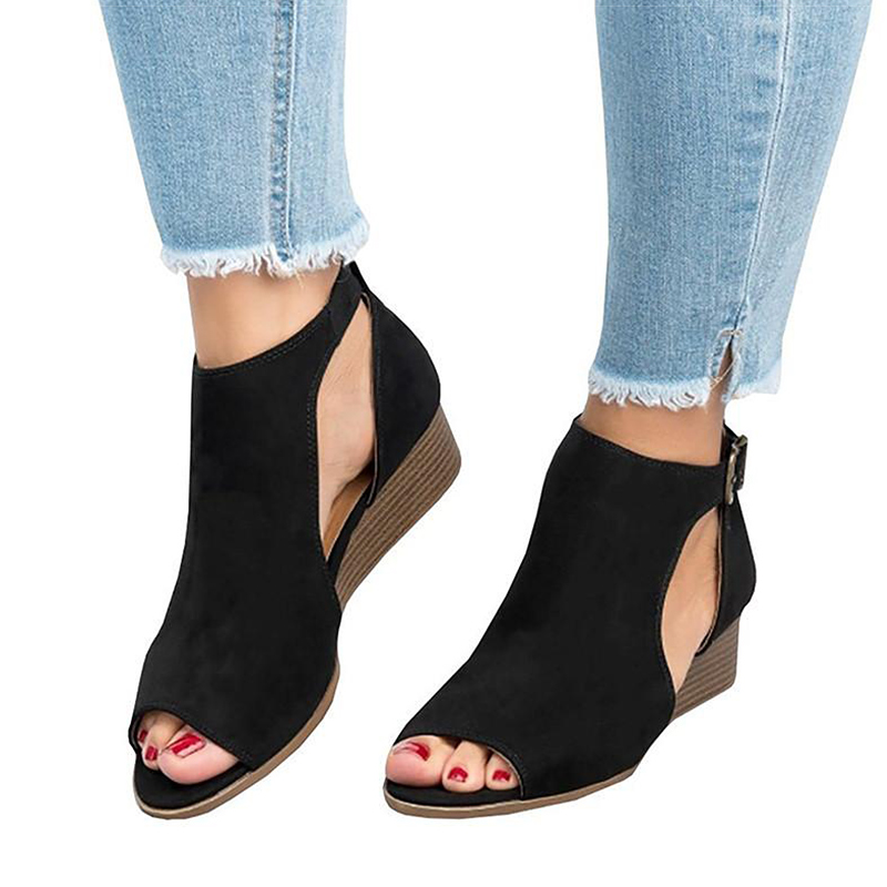 Women Sandals 2018 New Wedges Shoes For Women Peep Toe Summer Shoes Female 5CM Heels Sandals Chaussure Femme Wedge Sandals peacock crystals slingbacks 8cm chunky heels open toe summer shoe sandals chaussure femme de marque chaussure femme talon ouvert