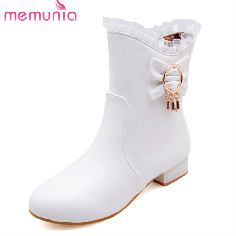 MEMUNIA 2020 new fashion shoes woman round toe ankle boots for women zipper simple autumn winter boots low heels shoes female