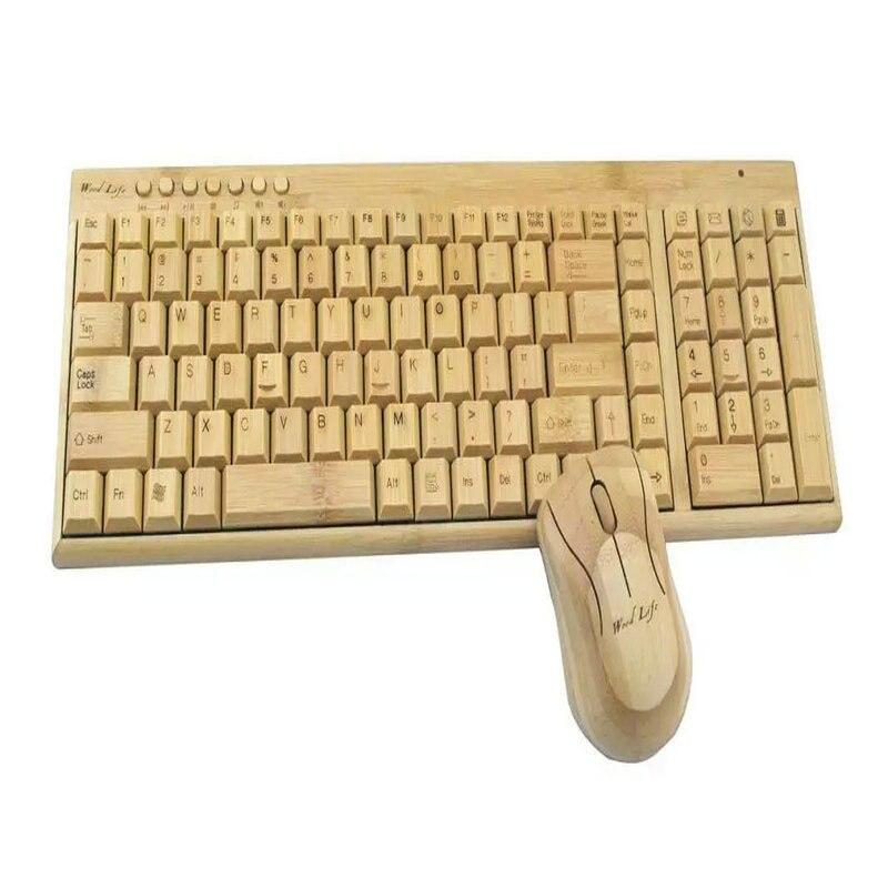 2016 plus récent environnement fait à la main bambou 2.4G sans fil multimédia clavier en bois clavier pour PC ordinateur de bureau ordinateur portable