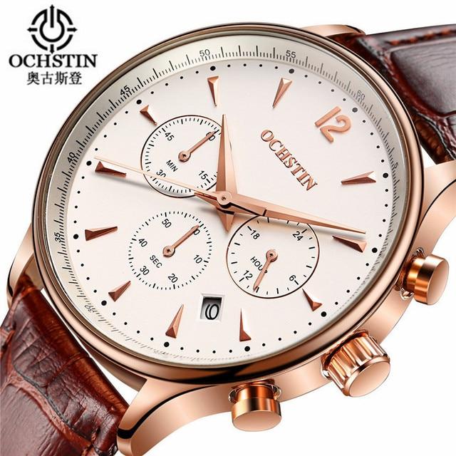 Ochstin Watches Men Luxury 2016 Brand Antique Sport Watches Men Fashion wristwatch Chronograph Waterproof Leather Quartz Watch