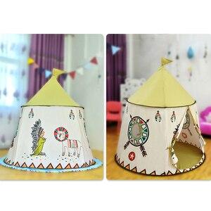 Image 4 - YARD Kid Tent House Portable Princess Castle 123*116cm Present Hang Flag Children Teepee Tent Play Tent Birthday Christmas Gift