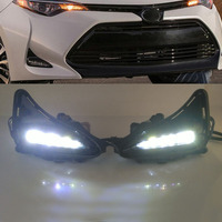 For 2017 2018 Toyota Corolla LED Daytime running lights Bumper Fog Lights w/Switch+Wiring Harness with switch