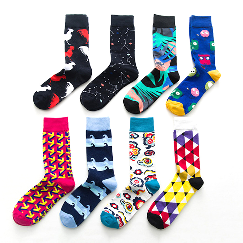 Underwear & Sleepwears Reasonable Men Women Crew Socks Funny Happy Summer Socks Cotton Socks Flower Leaves Square Triangle Ripple Pattern Unisex Socks Male