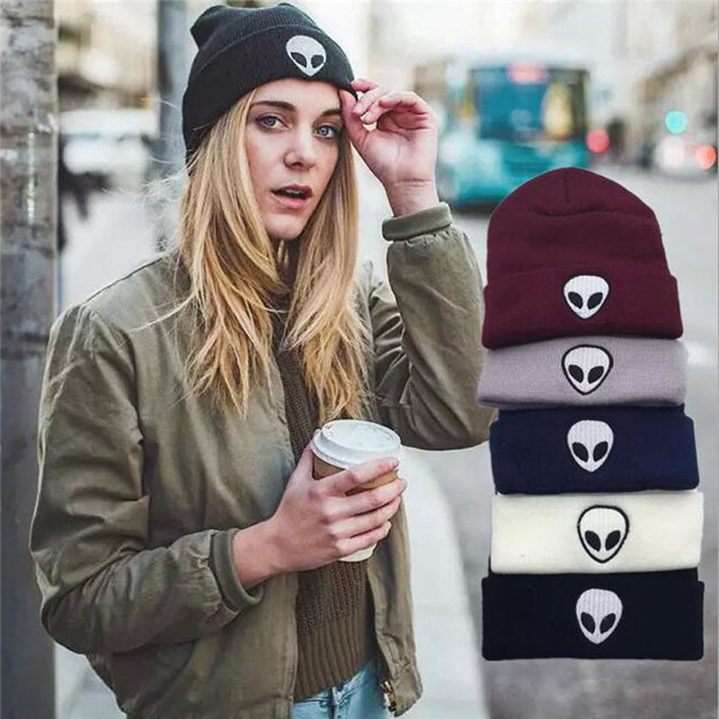 Autumn Winter Knitting Wool Knitted Solid Hats For Women And Men Europe Alien Embroidery Dome   Skullies     Beanies