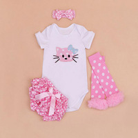 4PCs Per Set Newborn Animal Cat Baby Girls Clothes Pink Polka Dots Satin Shorts Headband Leggings