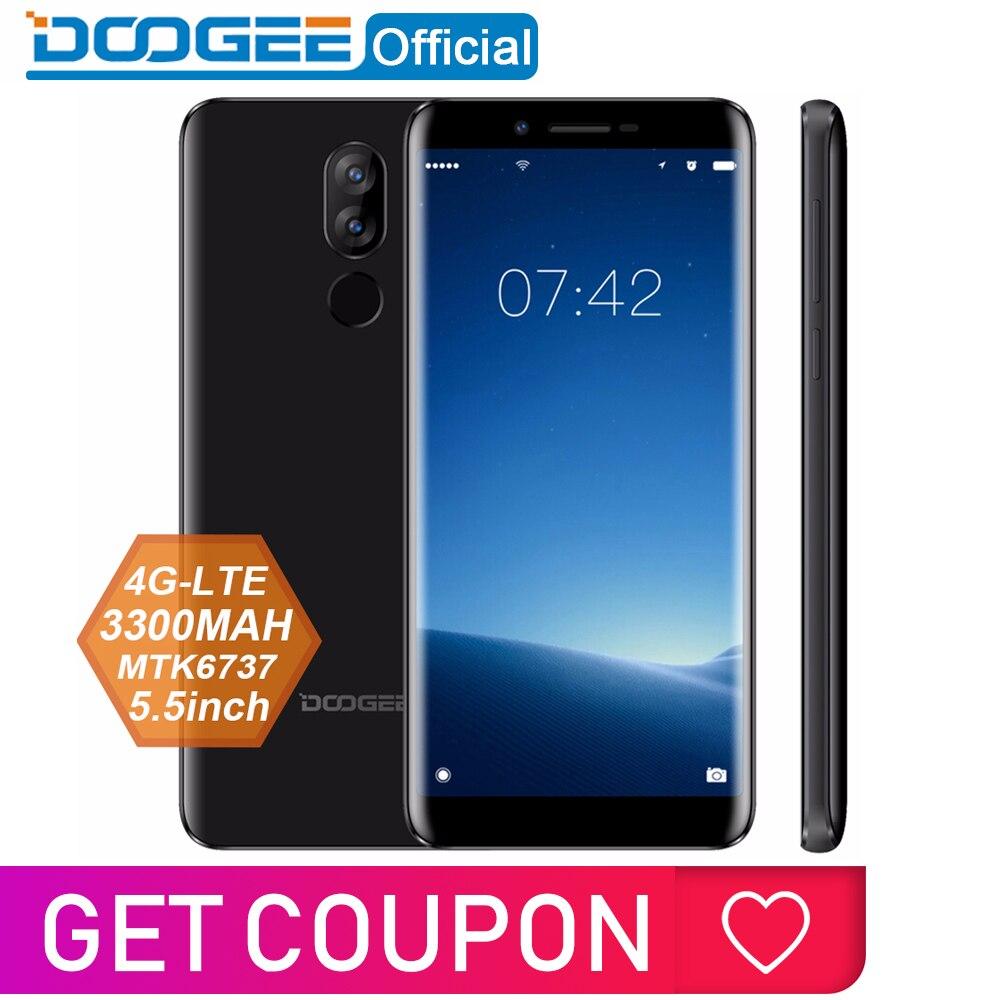 DOOGEE MTK6737 X60L 5.5 ''4G Rede Quad Core 16 2 GB de RAM GB ROM 4G Dual Camera fingerprint 13.0MP Android 7.0 3300 mAh Smartphones