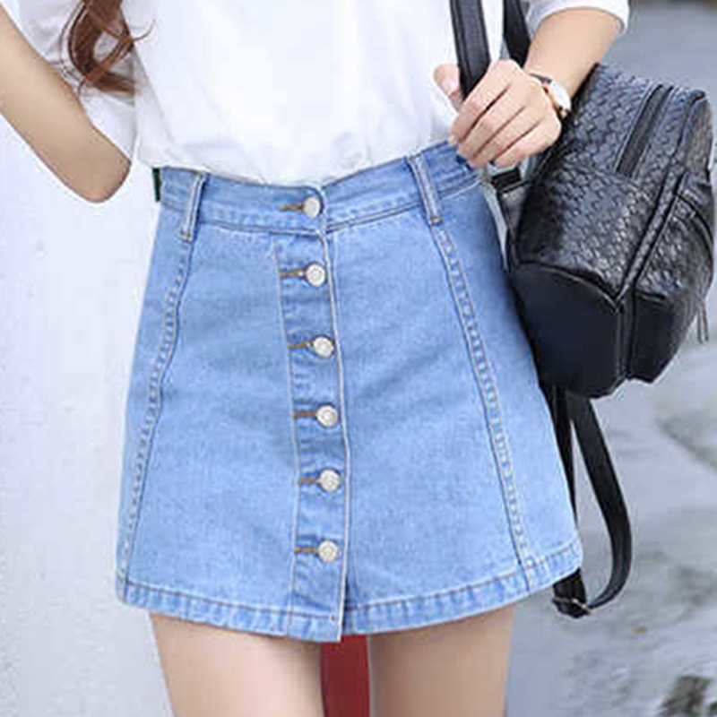 Women Mini A-Line Skirts Faldas Mujer Moda Fashion High Waist Casual Denim Skirts Harajuku Single-Breasted Jeans Skirt