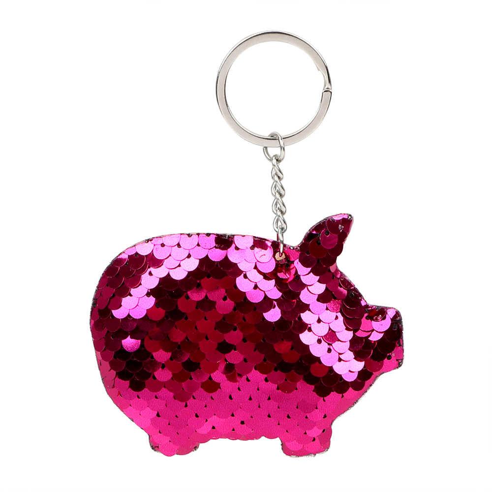 Brilho de Lantejoulas Cadeia Chave Do Carro Chaveiro de Porco Colorido Que Bling Bonito Acessórios Interiores de Automóveis Presentes Para Amigo Anel Chave Keyfob