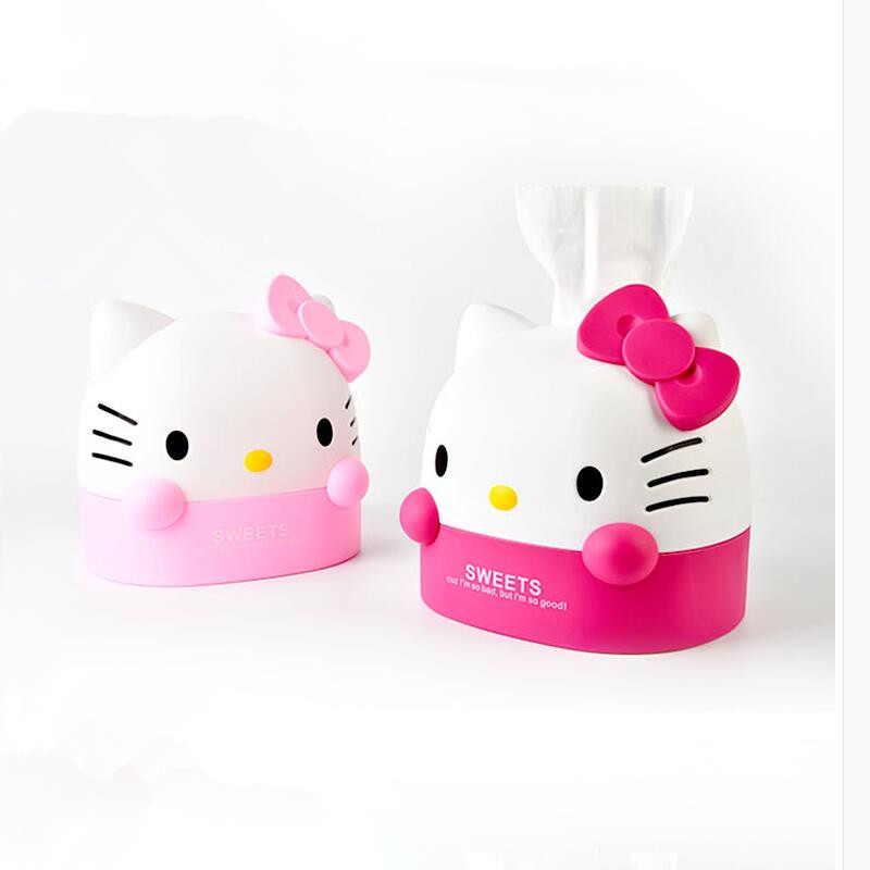 Caja Linda Hello Kitty tejido caja de pañuelos de papel higiénico ...
