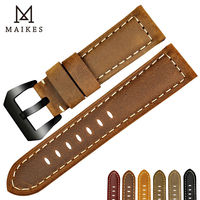 MAIKES New Design Vintage Watch Strap 22mm 24mm 26mm Watch Band Genuine Cow Leather Watchbands For