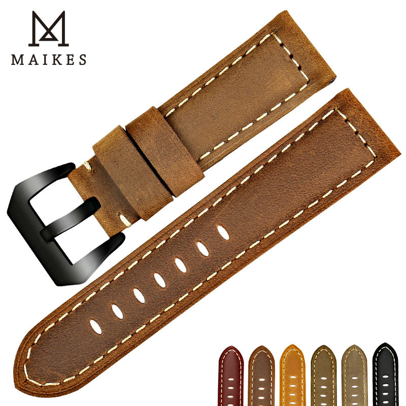 MAIKES New design garmin fenix 3 watch strap 22mm 24mm 26mm watch band genuine leather watchbands for Panerai детский самокат fenix cms031
