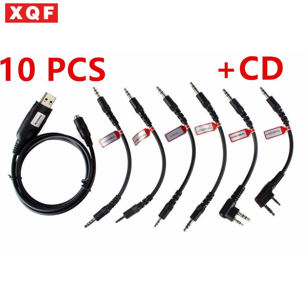 XQF 10 PCS 6 In 1 USB Programming Cable For Motorola YAESU HYT ICOM BAOFENG KENWO Two Way Radio With Programming Software