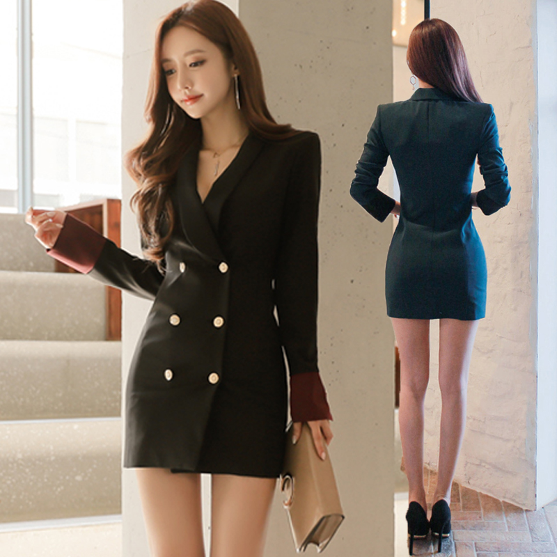 women dress double breasted korean fashion dress sexy