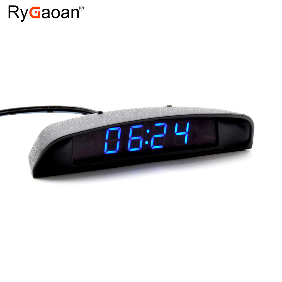 RyGaoan Classic 12V Interior Car Clock / Thermometer / Voltage Monitor (Seven Kinds of Display Mode), Blue & Red Display