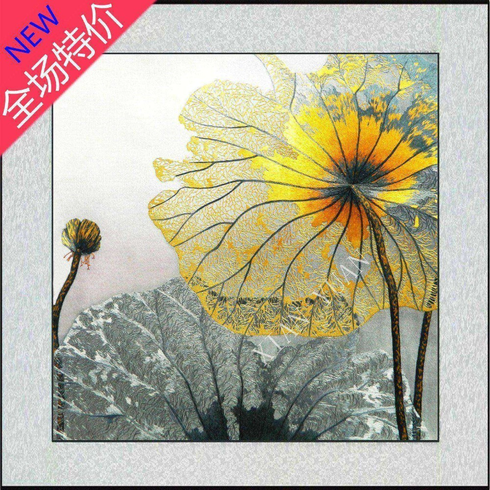 Lotus decorative art handmade Su Xiu embroidery hand embroidered ...