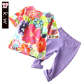 KW Brand 24M-4T Colorful Girls Clothing Sets 2017 Summer Vintage Flowers Print Baby Girls Clothes Casual Kids Clothes for Girls