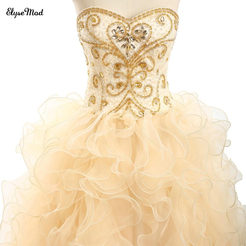 Offre spéciale robe de bal Champagne dentelle chérie robes de grande taille de bal pour 2018 femmes bal à volants robe perlée livraison gratuite - 2
