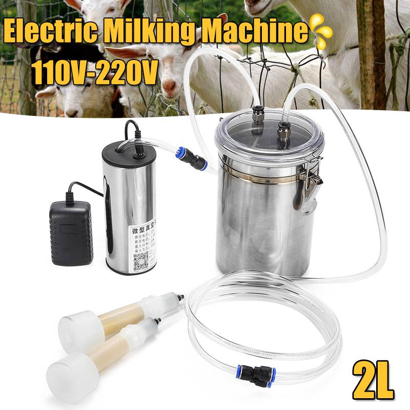 110V 220V 2L Double Head Portable Electric Milking Machine Farm Milk Vacuum Pump Bucket Milker Sheep