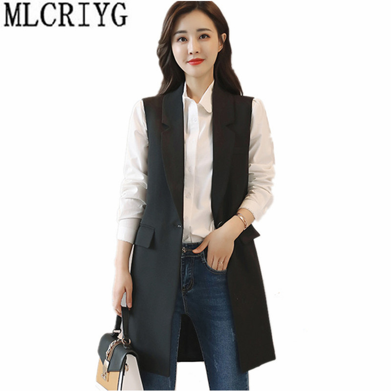 Women's Vest Waistcoat For Women Office Long Vests Coat Female Casual Sleeveless Spring Jacket Plus Size colete feminino YQ168