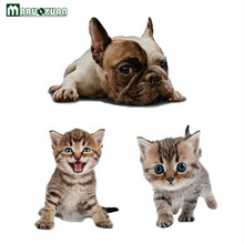 Maruoxuan 3D Animal Cat Dog Pets Wall Sticker Bathroom Toilet Wall Stickers DIY Cute For Kid Baby Bedroom Home Decor Waterproof