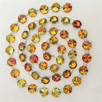14mm 100 Meters Orange Red Yellow Green Silver Plate Crystal Octagon Bead Chain For Party Dress Up Hot Sales