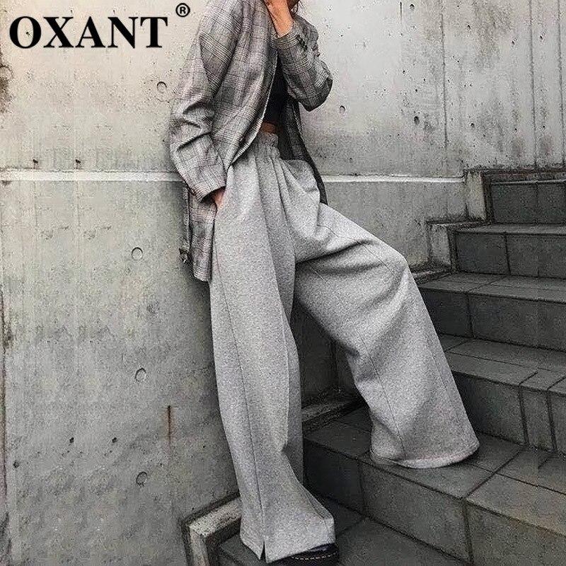 Más Para Otoño Coreano Mujeres Botón Gruesos Oxant Cintura Invierno Pants Elástico Pantalones 2019 gray Black De Pants Dividir Pierna Las Ancha pxX7qw
