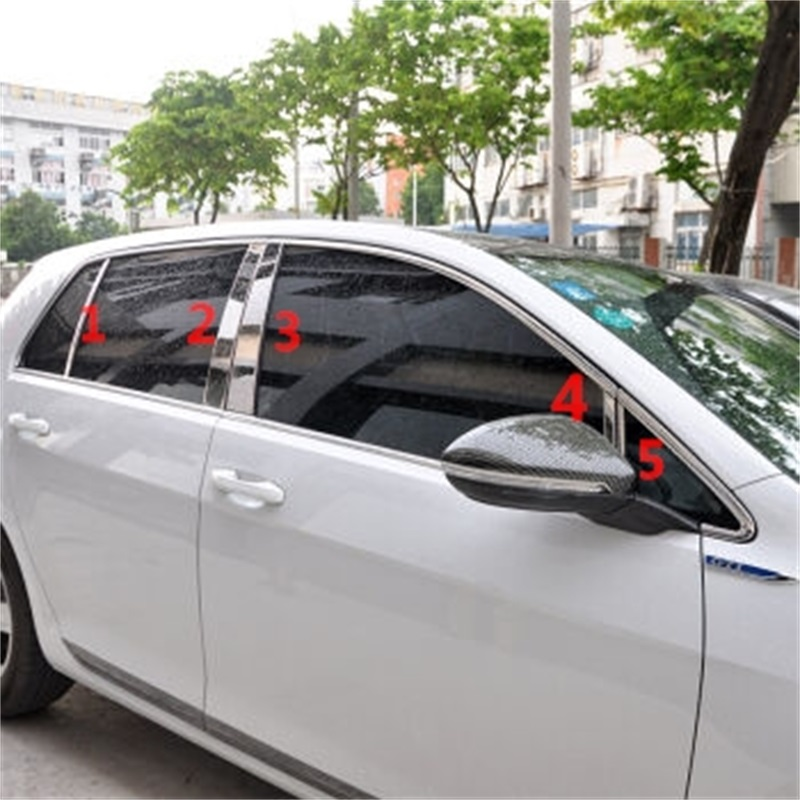 10Pcs/set Car Styling Fit For Volkswagen Golf7 Stickers Window Pillar Cover Trim with High Quality ABS Chrome golf 7 Accessories auto rain shield window visor car window deflector sun visor covers stickers fit for toyota noah voxy 2014 pc 4pcs set