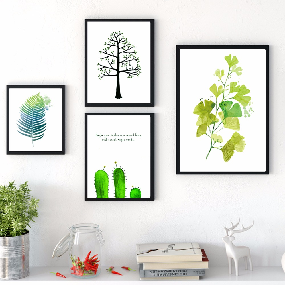 Nordic Watercolor Plants Green Leaves Painting Cactus