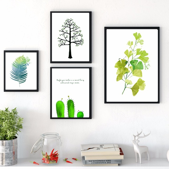 Watercolor Green Plants Monstera Nature Posters And Prints: Nordic Watercolor Plants Green Leaves Painting Cactus