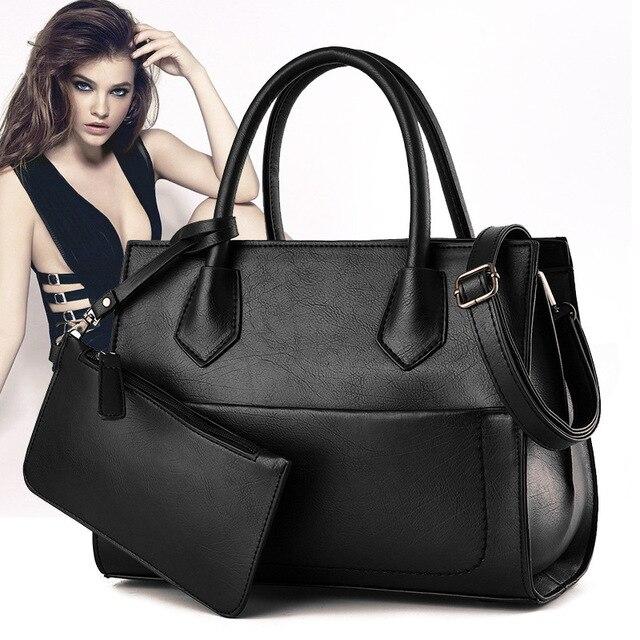 Buy Handbag Send Clutch 2 Set/Pcs Fashion Women Handbags 2016 New European High Quality PU Leather Female Shoulder Bag LX465