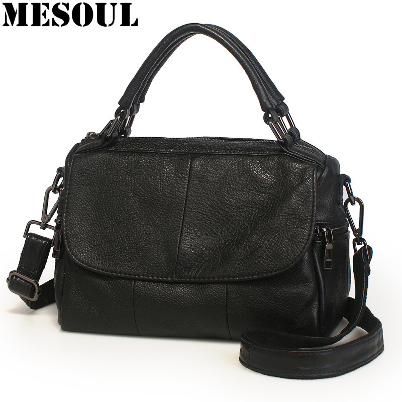 MESOUL Brand 2018 New Casual Tote Bag Genuine Cow Leather Ladies Shoulder Bags Fashion Design Crossbody Bag For Women's Handbags