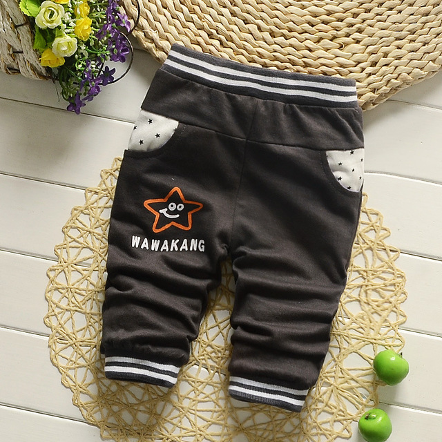 New 2016 Casual Cotton Baby Pants Fashion Cute Cartoon Patter Baby Boys Pants All-Match Children's Pants for Baby 7-24 Month
