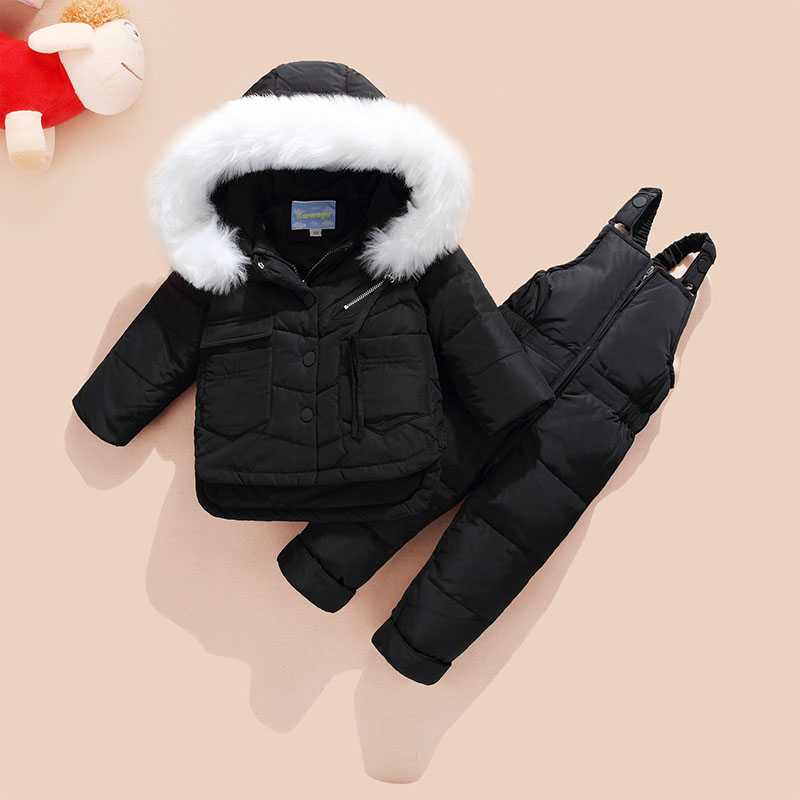 Baby Boys Winter Clothes Sets Girls Clothing Set Suit Kids Down Jumpsuit And Warm Down Coats Baby Fur Hooded Jacket With Pants fur hooded girls winter coats and jackets outwear warm long down jacket kids girls clothes children parkas baby girls clothing