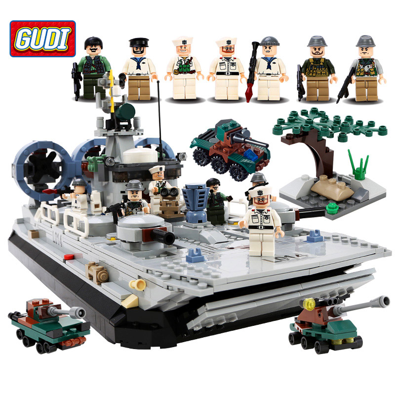 GUDI Military Education Blocks Toys Children Gifts Military Boat Destroyer Weapon Compatible legoe lego education 9689 простые механизмы