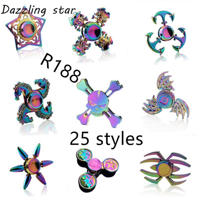 Ainbow Brass Fidget Spinner Finger ABS EDC Hand Spinner Tri For Kids Autism ADHD Anxiety Stress Relief Focus Handspinner Toys