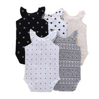 CHUYA Summer Bodysuits 5 Pieces Lot Baby Girl Clothes Short Sleeve Cotton Printed Bodysuits Baby Jumpsuit