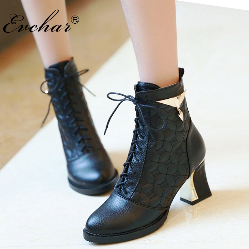 Thick high heel Lace-up design ankle boots pointed toe fashion short women boots martin boots black white silver big size 34-48