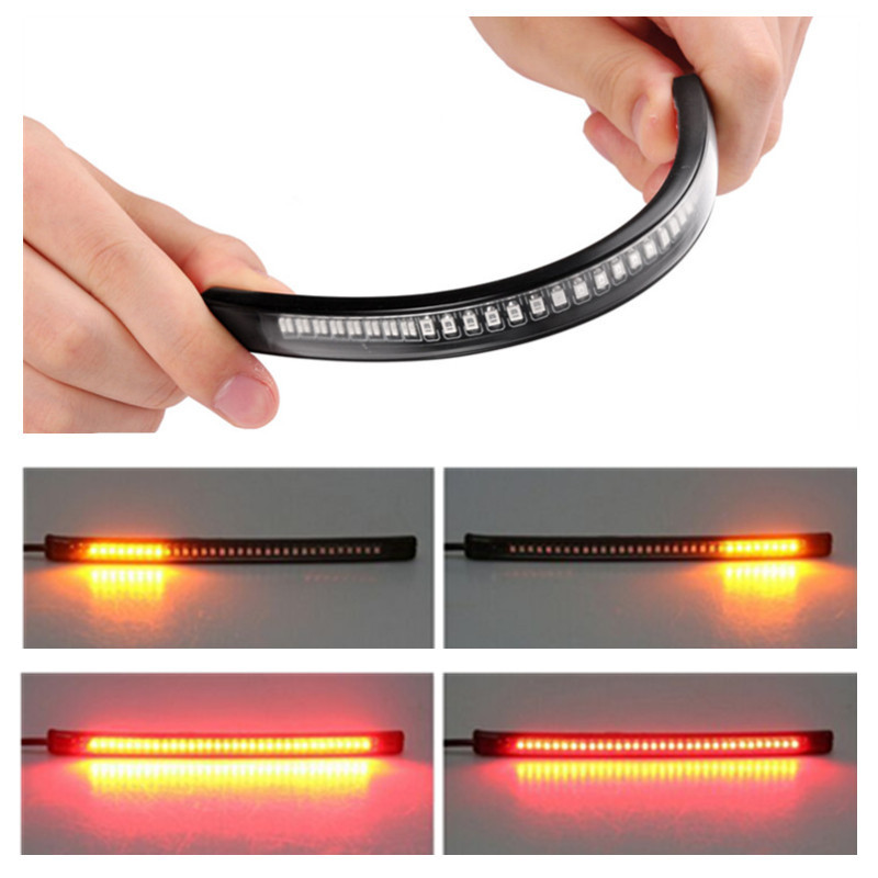 2x Led Strip Tail Brake Stop Turn Signal 48-LED Flexible Motorcycle Universal