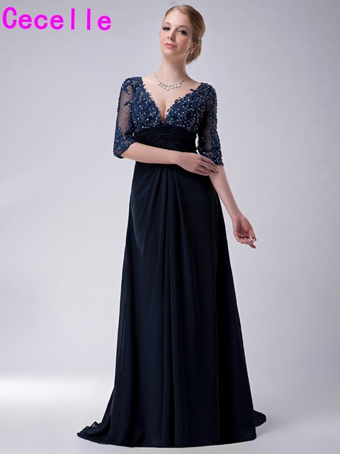 ae68d689a80a 2019 Long Navy Blue Mother of the Bride Dresses Half Sheer Sleeves A-line  Sexy V Neck Beaded Lace Chiffon Mothers Formal Gown