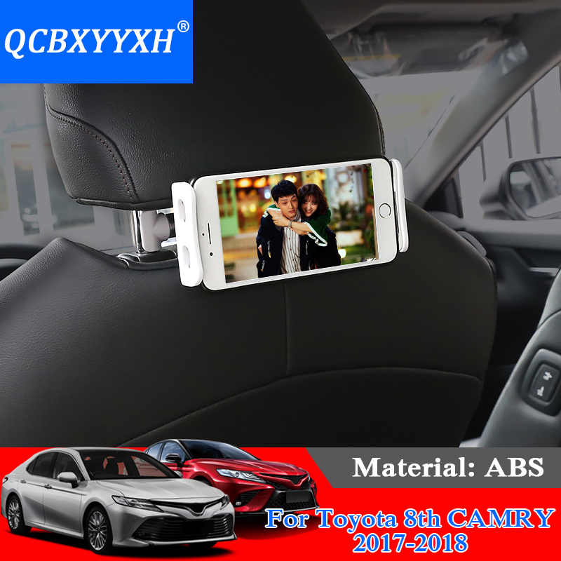 QCBXYYXH Car Styling ABS Car Rear Headrest Bracket Phone Holder For Toyota Camry Corolla Vios Yaris L CHR Prado Reiz RAV4 Prius