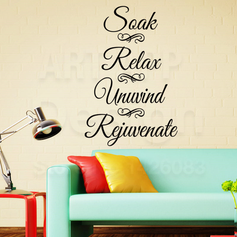Art new design home decor vinyl Soak Relax words wall sticker cheap colorful house decoration character unwind decals in rooms