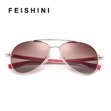 25208f4545 FEISHINI White UV Protection Women Sun Glasses Aviation Clear Polaroid Lens  Vintage Polarized Sunglasses Men Brand