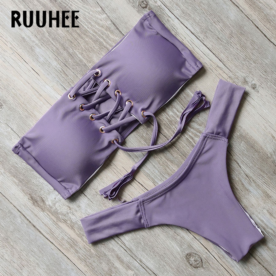 все цены на RUUHEE Bikini Swimwear Swimsuit Bathing Suit Women Sexy Brazilian Bikini Set Push Up 2017 Summer Beach Maillot De Bain Biquini