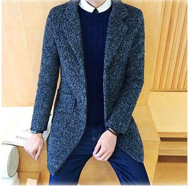 Бесплатная доставка 2017 Моды для Мужчин Пальто Отложным Воротником Одной Грудью Мужские Траншею Пальто Slim Fit ветровка Homme