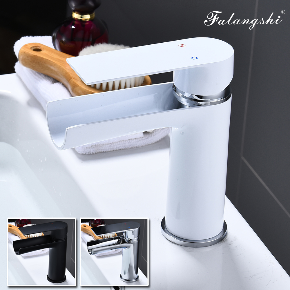 Robinets de bassin cascade robinets blancs mitigeur salle de bain eau chaude et froide mitigeur de lavabo vasque évier robinets WB1038